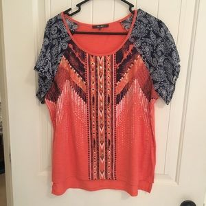 Miss Me Top with Gold Stud Accents/Paisley